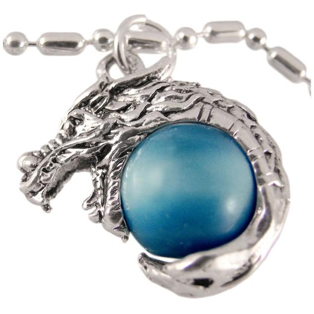 Rhodium Dragon Lt Blue Marble Orb Pendant Bead Mens Pendant Necklaces