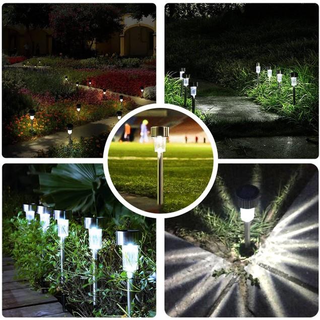 12-Pack Stainless Steel Solar Powered Pathway Garden Light