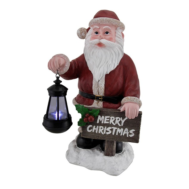Merry Christmas Holiday Greeter Santa Claus Solar Outdoor Statues