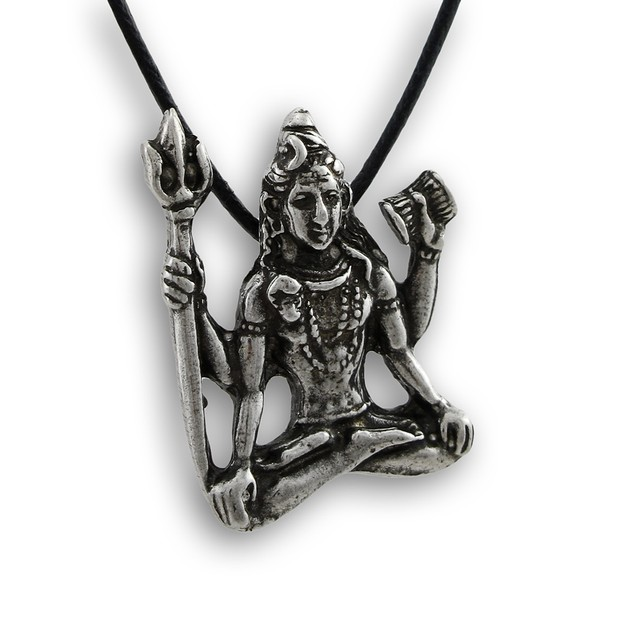 Lead-Free Pewter Hindu God Shiva Pendant W/ Cord Mens Pendant Necklaces