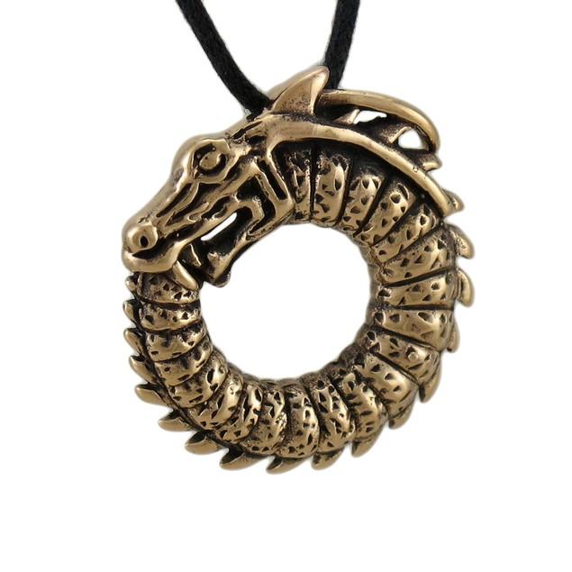 Bronze Finished Ouroboros Dragon Pendant W/ Cord Mens Individual Pendants