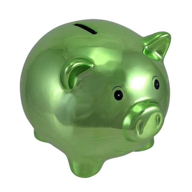 Metallic Green Ceramic Piggy Bank 5 1/2 In. Toy Banks