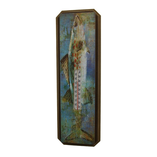 20 Inch Tall Wood And Metal Largemouth Bass Wall Outdoor Thermometers