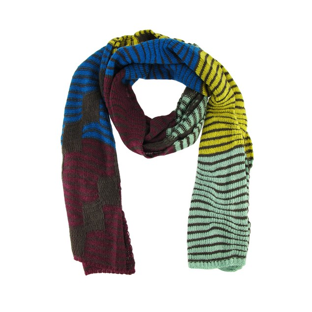 Super Soft Wavy Stripe Color Block Knit Scarf Womens Cold Weather Scarves