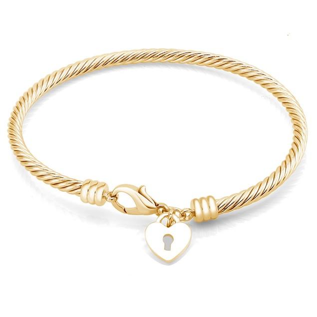Heart Lock Charm Twisted Bangle Bracelet - 3 Colors