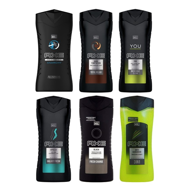 6-Pack Axe Shower Gel Body Wash 400ml - Assorted Scents