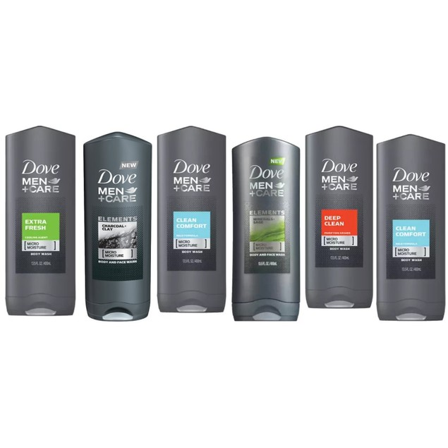6-Pack Dove Men Shower Gel 400ml (Assorted Scents)