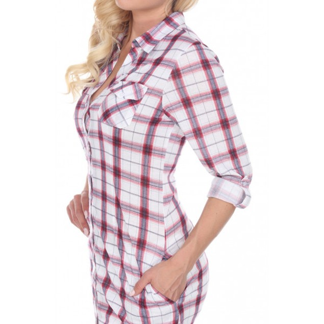 Women's Piper Plaid Tunic with Pockets - 11 Colors, Extended Sizes