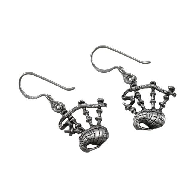 Sterling Silver Dangling Bagpipes Earrings Womens Dangle Earrings