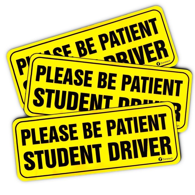 "Zone Tech Bumper Decal ""Please Be Patient Student Driver"" Car Magnets"