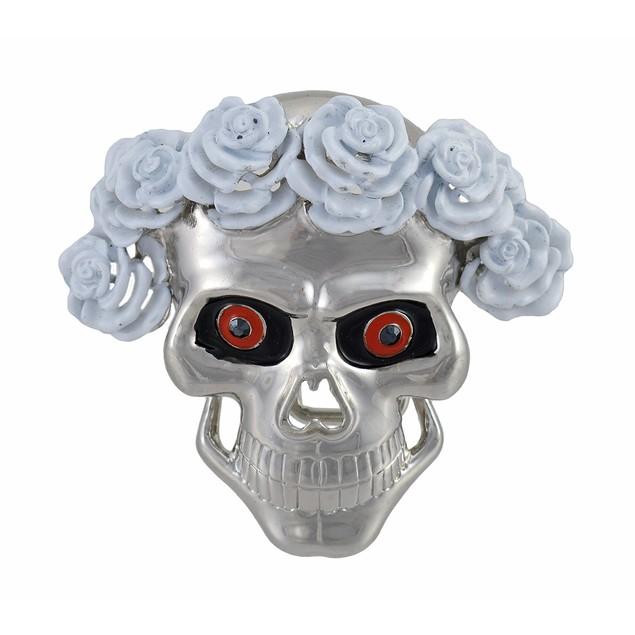 Chrome Skull W/ White Roses Wig Belt Buckle Dead Mens Belt Buckles