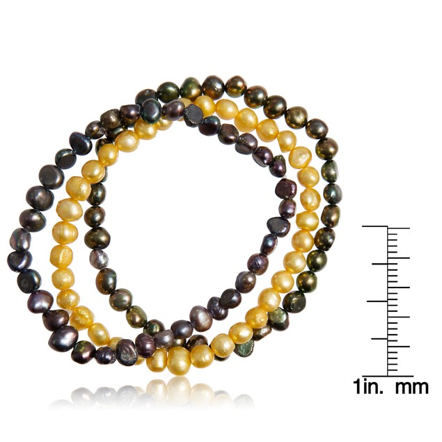 5mm Freshwater Cultured Golden South and Peacock Pearl Bracelet Set