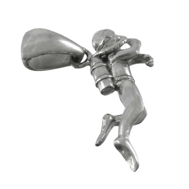 Beautifully Detailed Silvertone Scuba Diver Pendants