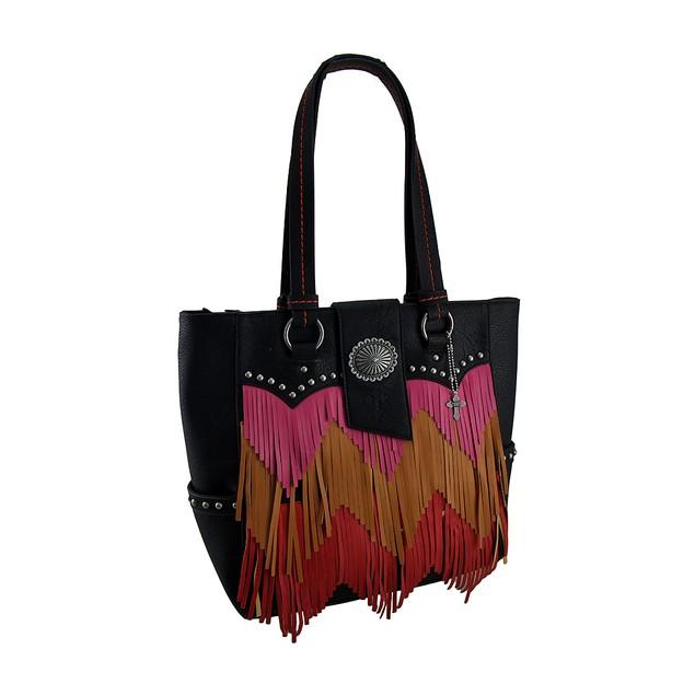 Pink Orange And Red Chevron Fringe Studded Black Womens Shoulder Handbags