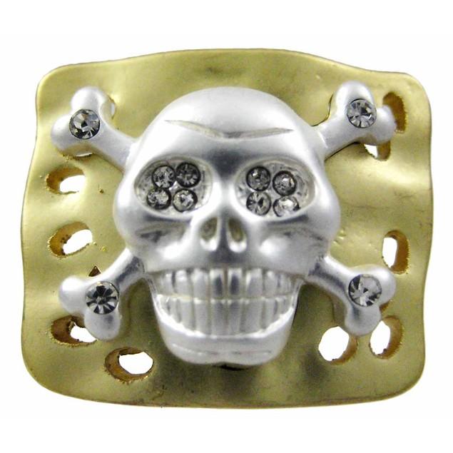 Rhinestone Skull & Crossbones Goldtone Stretch Womens Rings