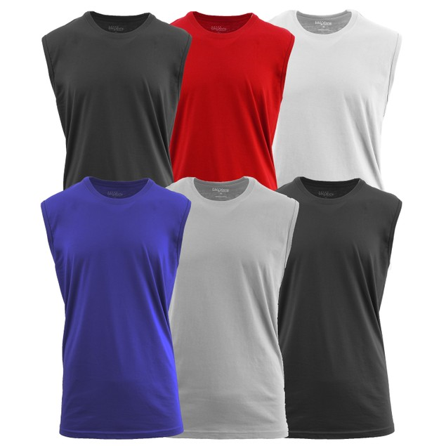 6-Pack Galaxy By Harvic Men's Crew Neck Muscle Tank Tops