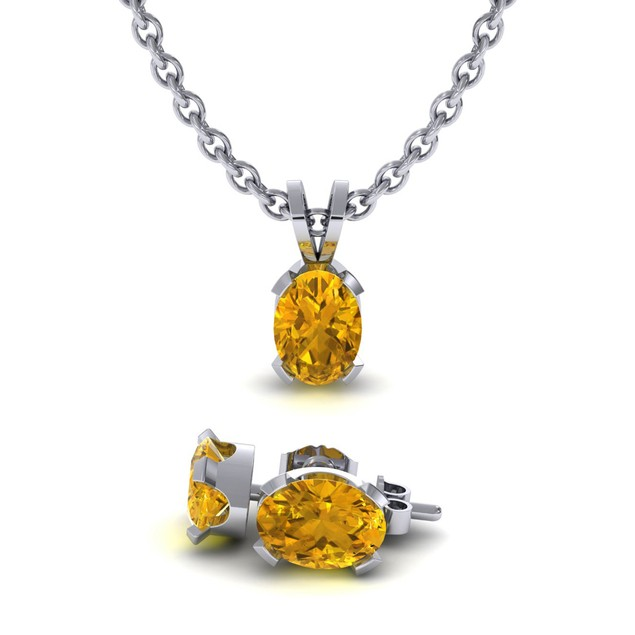 1.29cttw Oval-Cut Citrine Necklace & Earring Set In Sterling Silver