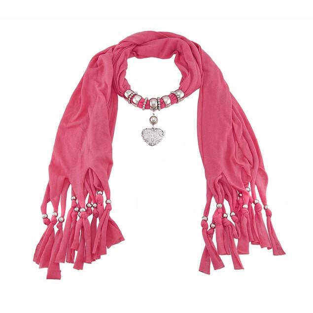 Bright Coral Rhinestone Heart Pendant Scarf Womens Fashion Scarves
