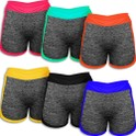 6-Pack Women's Mesh Cotton-Blend Waistband Yoga Shorts