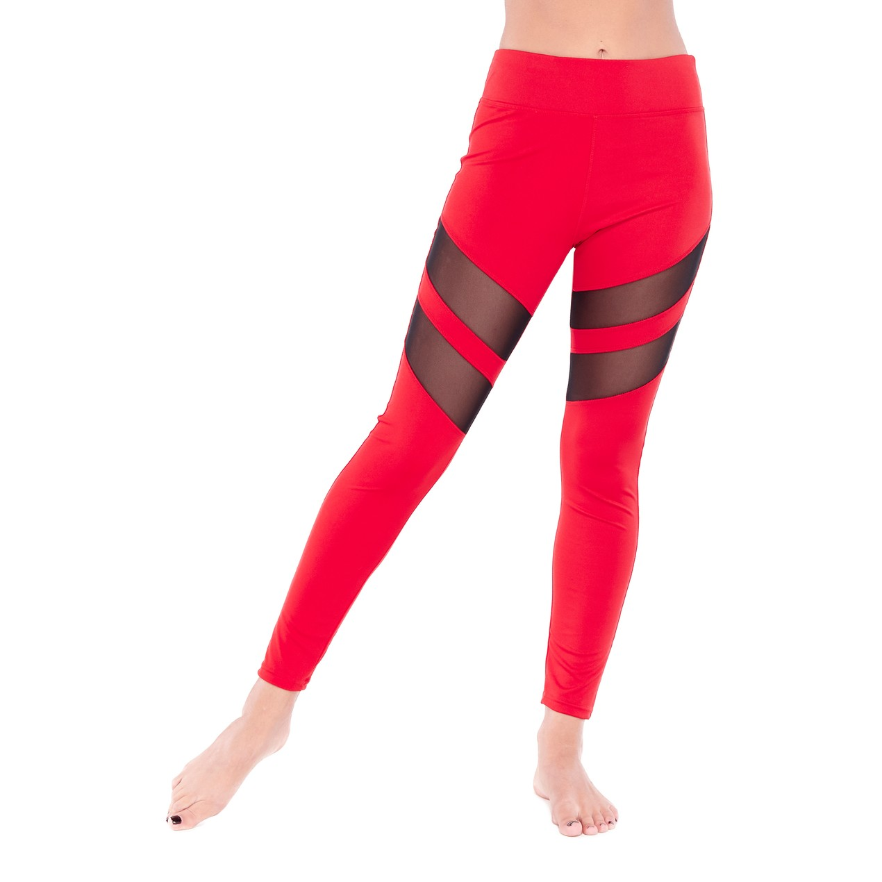 Electric Yoga Tummy Tuck Mesh Racer Legging - Tanga