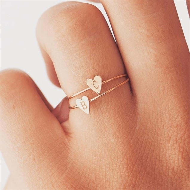 Letter Initial Heart Ring