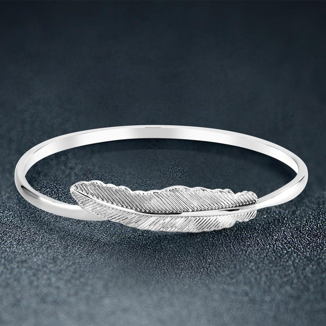 Boho Silver Feather Bangle Bracelet