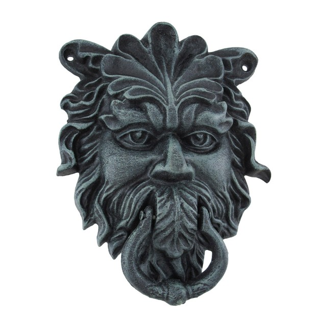 Verdigris Finish Cast Iron Celtic Greenman Door Door Knockers