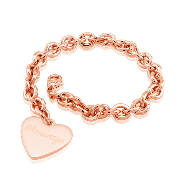 Designer Inspired Heart Bracelet - Free Engraving