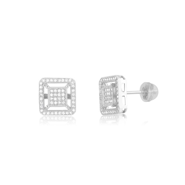 Sterling Silver Square Micro-Pave Diamond Stud Earrings
