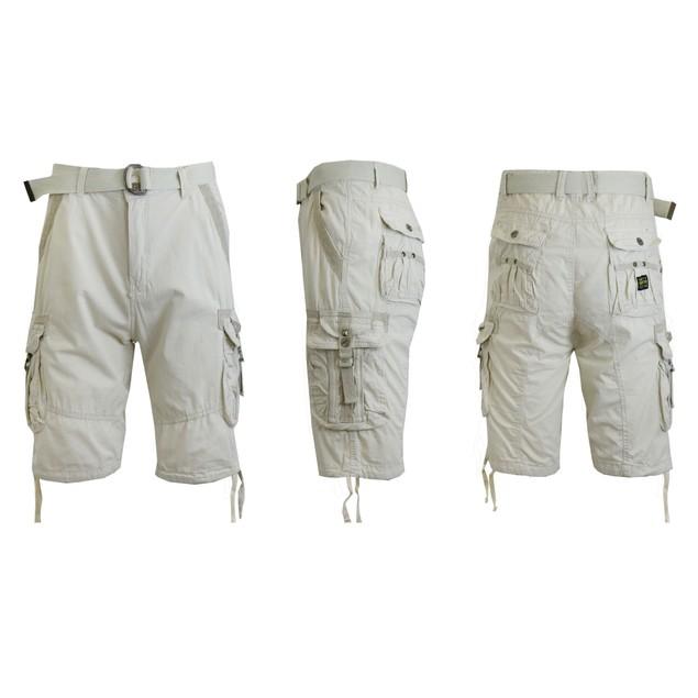 Men's Distressed Tactical Vintage Belted Cargo Utility Shorts