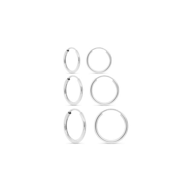 3-Pairs Sterling Silver Endless Hoop Earrings
