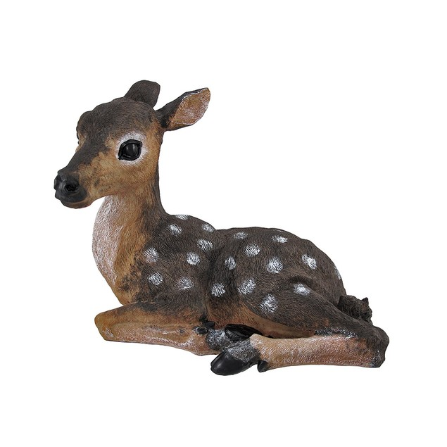 Lying Down Baby Deer Fawn Outdoor Statue 14 In. Outdoor Statues