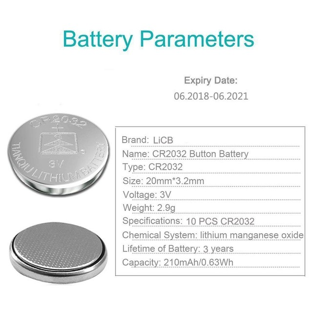 10-Pack LiCB CR2032 3V Lithium Battery - For Watches, Garage Doors & More