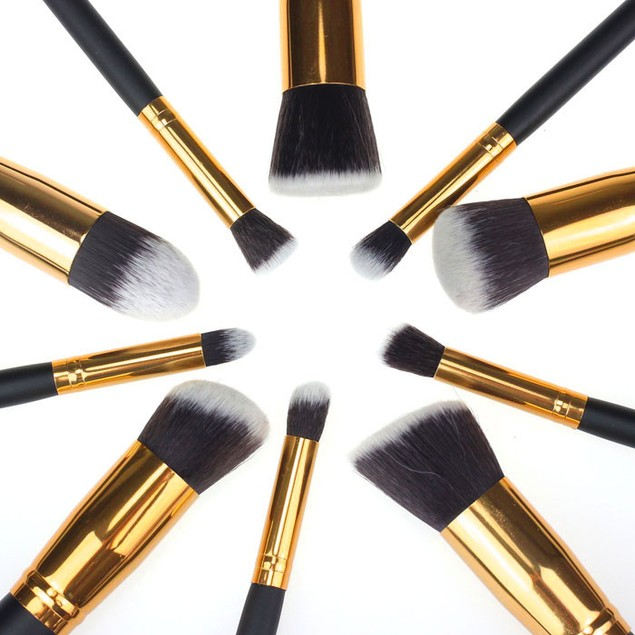 10-Piece Cosmetic Makeup Brushes Foundation Powder Eyeshadow