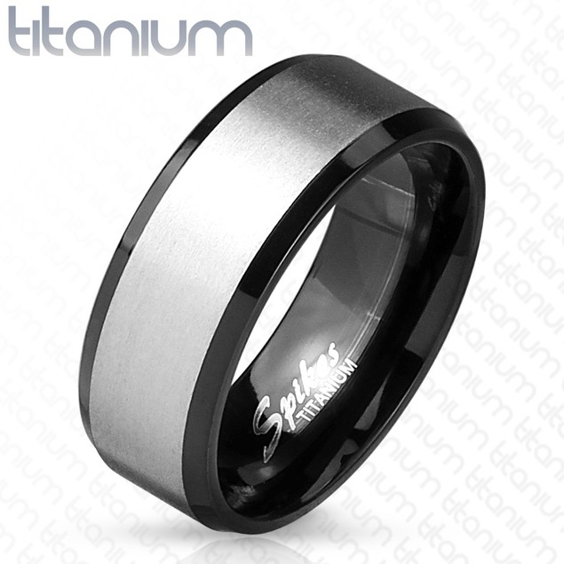 Solid Titanium Black IP Interior Beveled Edge Two Tone Ring