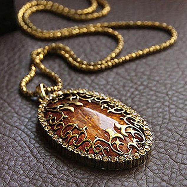 Gold Plated Filigree Gemstone Necklace