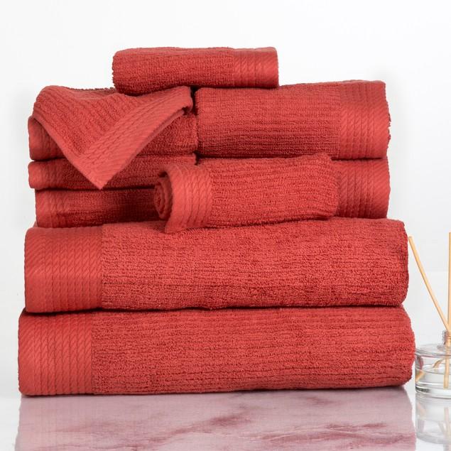 Lavish Home Ribbed 100% Cotton 10 Piece Towel Set