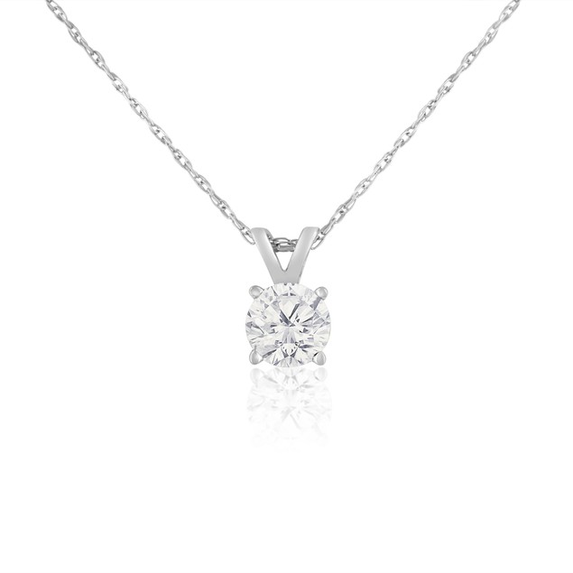 14k White Gold 1/2 Carat Genuine Diamond Solitaire Necklace