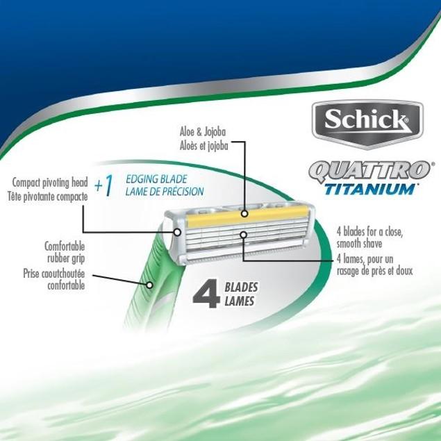 Schick Quattro Titanium Disposable Razors, 3 ct + 1 Hydro 5 Razor