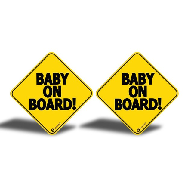 Zone Tech 2x Reflective Baby on Board Car Decal Magnet Sign 5x5""