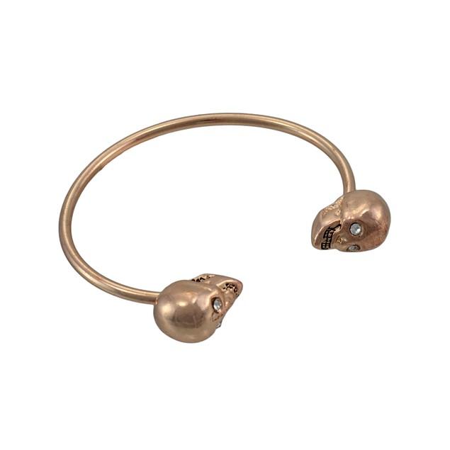 Rose Gold Finish 3D Skull Torc Bracelet Cuff Womens Cuff Bracelets