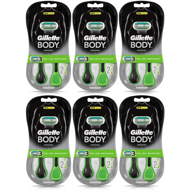 Gillette Body Disposable Razors 12 Count (6 packs of 2ct each)