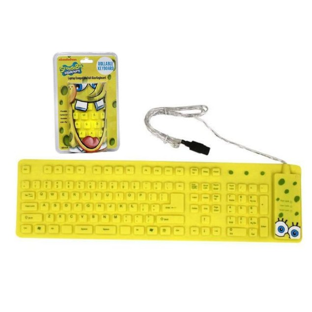 SpongeBob Yellow USB Wired Roll-up Keyboard