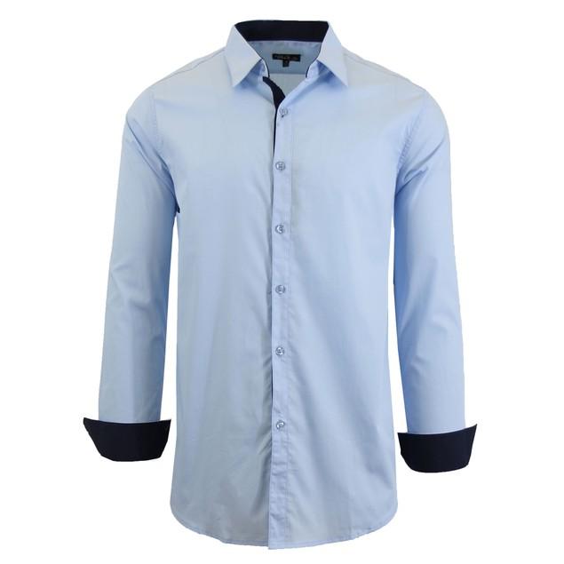 Mens Long Sleeve Solid Slim-Fit Dress Shirts