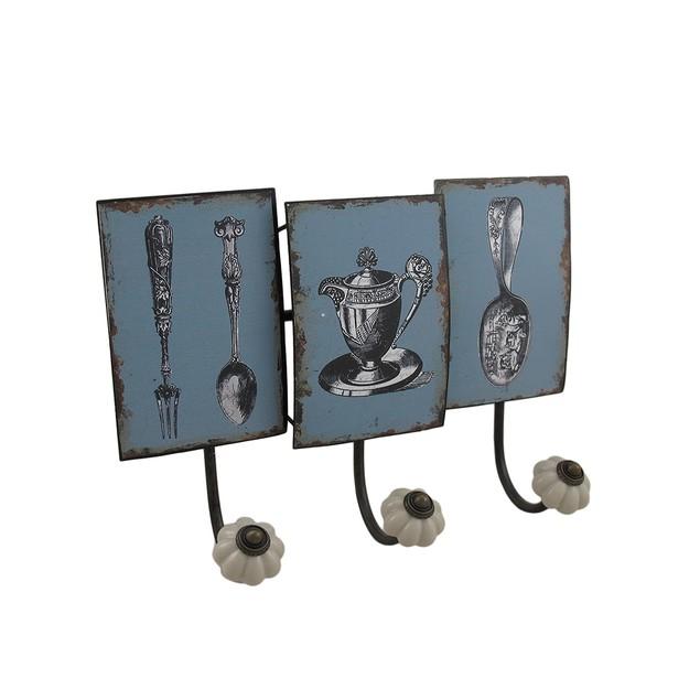 Antique Style Tea Service Distressed Finish Decorative Wall Hooks