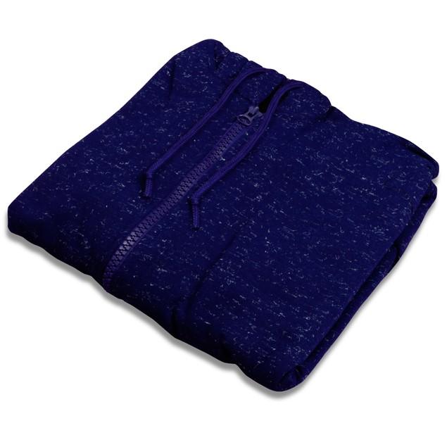 Mens Moisture Wicking Fleece-Lined Full-Zip Up Marled Jacket w/ Hood (M-2X)
