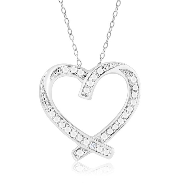 1/10 CTW Diamond Ladies Necklace - Wrapped Heart