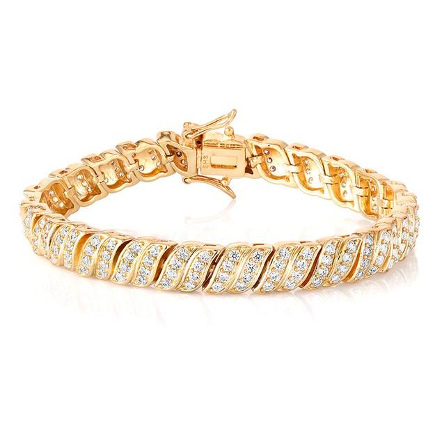 18kt Yellow Gold cubic Zirconia Classic Tennis Bracelet