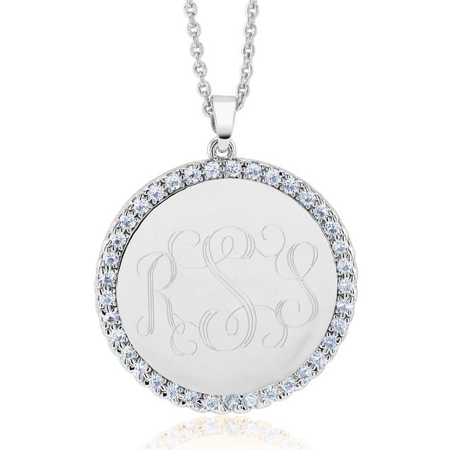 Personalized Monogram CZ Circle Pendant Necklace - 3 Colors