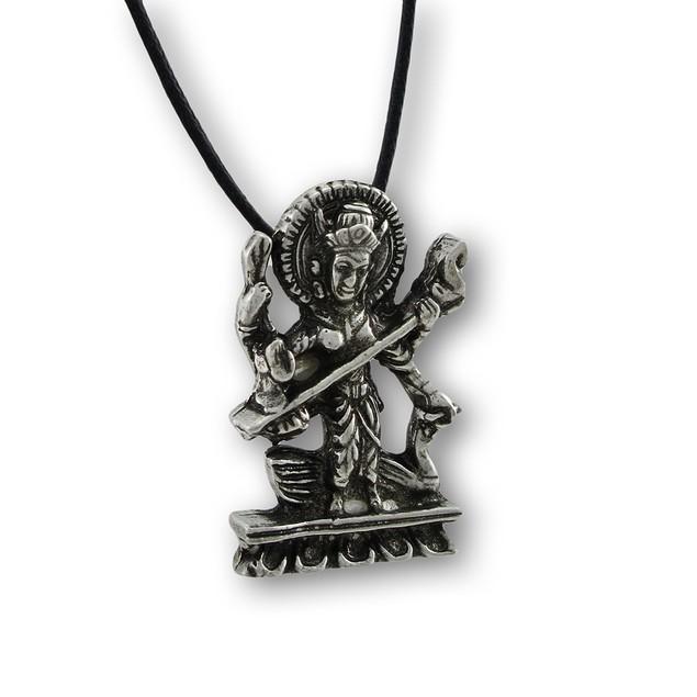 Hindu Goddess Of Wisdom Saraswati Pendant Womens Pendant Necklaces